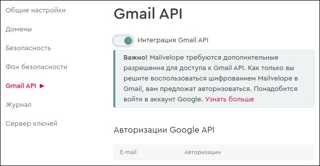 Mailvelope - Gmail API