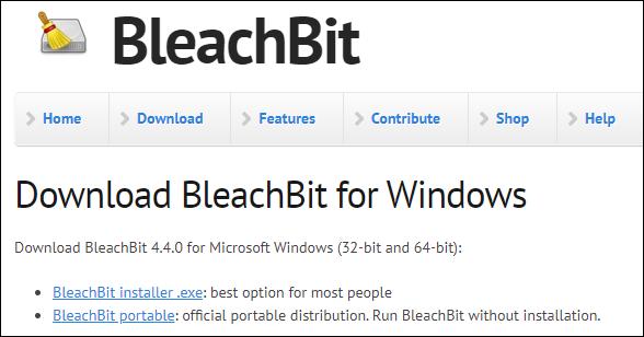 Скачиваем BleachBit с сайта