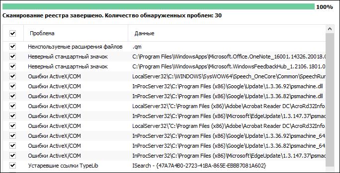 Реестр Windows сканирован CCleaner