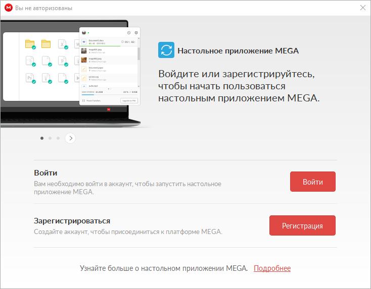 Авторизация в программе Mega